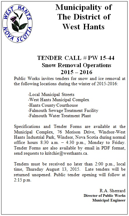 Snow Removal Tender Ad 2015