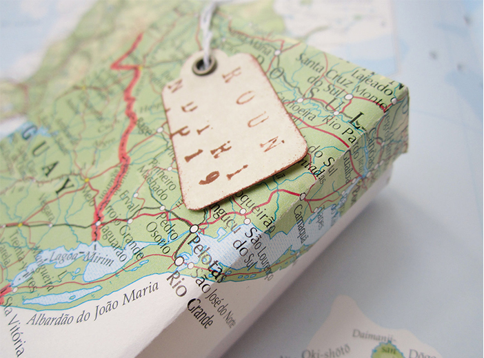 map as gift wrap