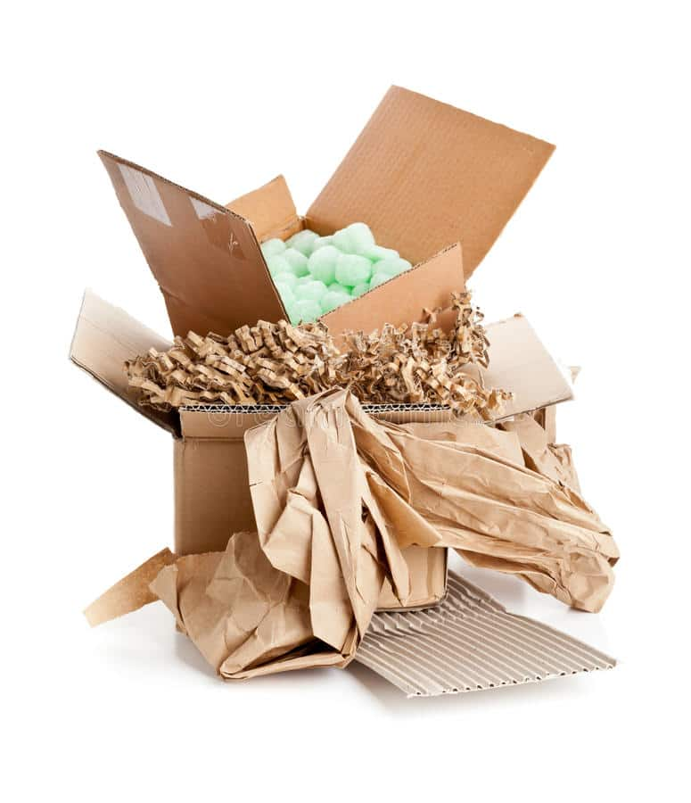 recyclable packaging material heap materials cardboard paper cornstarch pellets 40760294